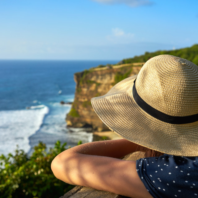 """""""Looking out at llmestone cliffs and the Indian Ocean viewed from Uluwatu..."""" stock image"""