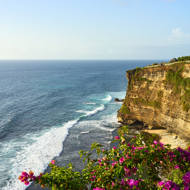 """""""Limestone cliffs and the Indian Ocean viewed from Uluwatu Temple, Pecatu,..."""" stock image"""
