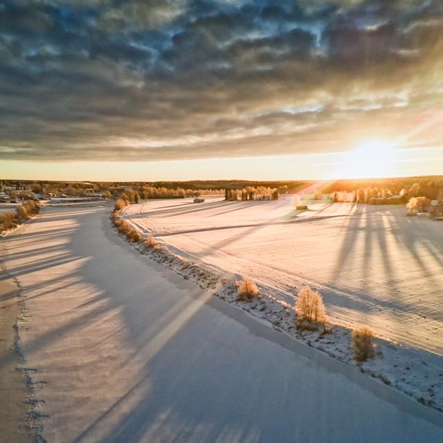 """Sunrise Over The Winter Fields"" stock image"