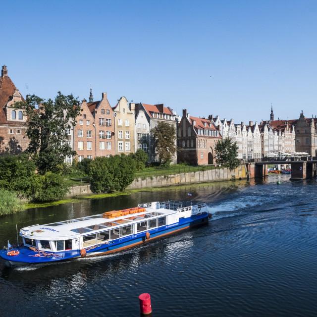 """Hanseatic league houses on the Motlawa river, Gdansk. Poland"" stock image"