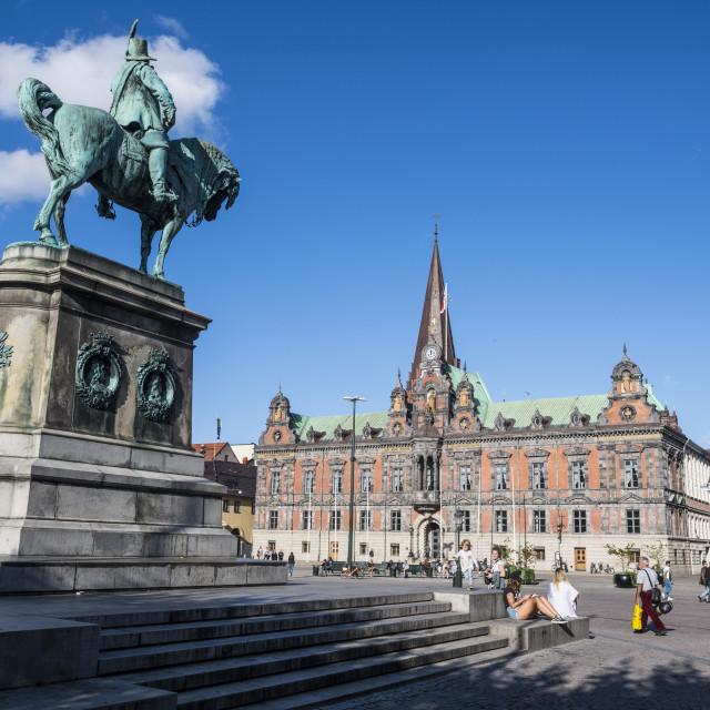 """""""Karl Gustav statue, Malmo, Sweden"""" stock image"""