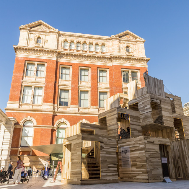 """""""The Sackler Courtyard at the V and A (Victoria and Albert) Museum in London,..."""" stock image"""