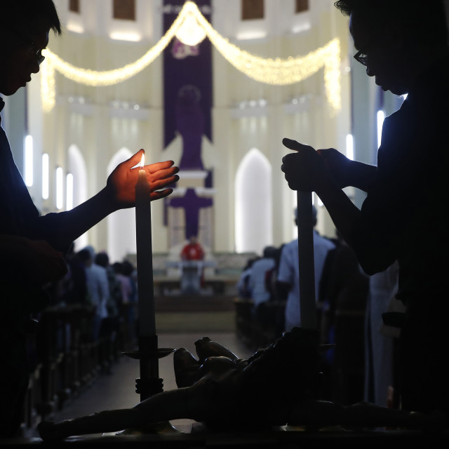"""Gia Dinh Church. Holy Week. Catholic mass. Good Friday. Ho Chi Minh City...."" stock image"