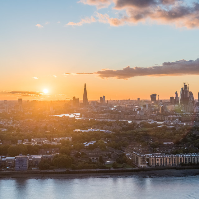 """""""London , England. The sun sets over the city of London."""" stock image"""