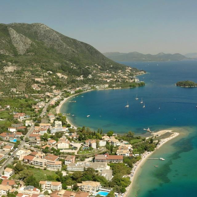 """Panoramic of Nidri bay, beautiful Lefkada island. Greece."" stock image"