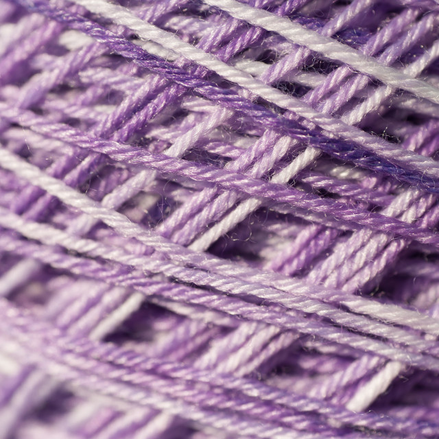 """Close up of the purple wool - silk melange threads"" stock image"