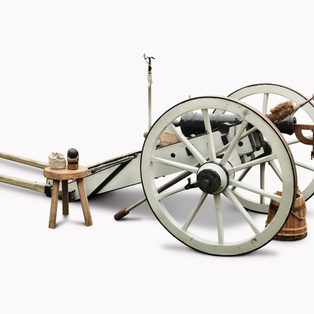 """""""White and black cannon"""" stock image"""