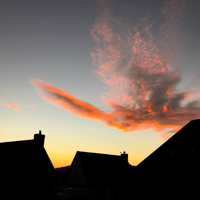 """""""Houses silhouetted against a colourful sky at dawn"""" stock image"""