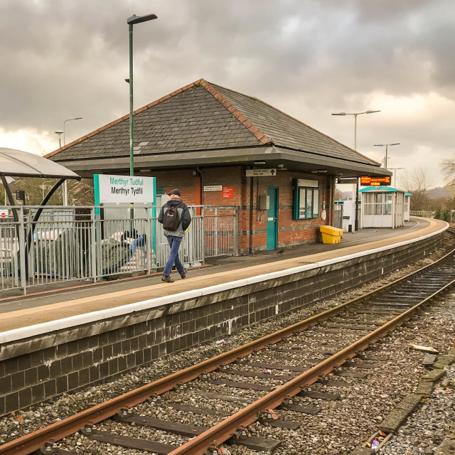 """Merthyr Tydfil railway station in South Wales."" stock image"