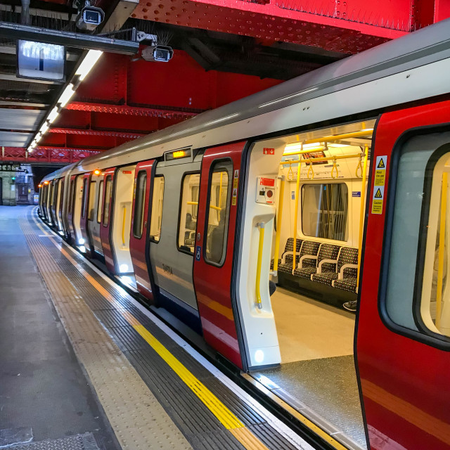 """London Underground train with its doors open."" stock image"