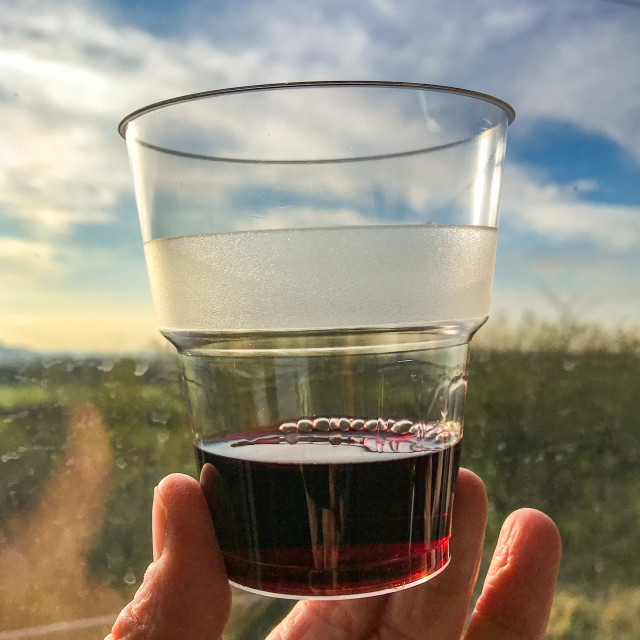 """Plastic cup of red wine held against the light in a train window"" stock image"