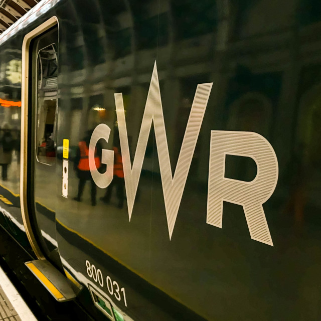 """Close up of the Great Western Railway logo on a new locomotive"" stock image"