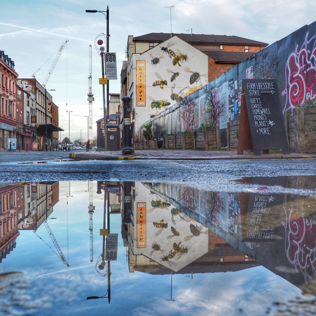"""""""Manchester bees mural"""" stock image"""