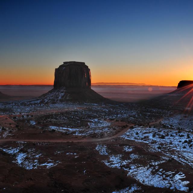"""Sunrise over Monument Valley Tribal Park"" stock image"