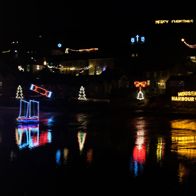 """Mousehole Lights at christmas"" stock image"