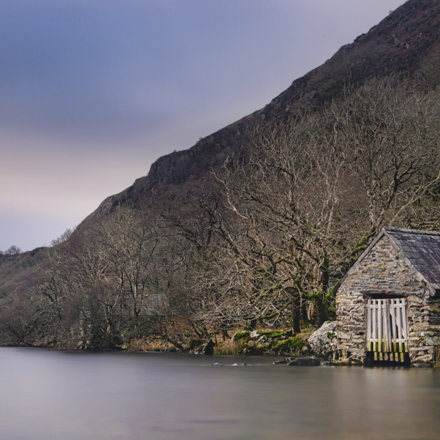 """Llyn Dinas Boathouse"" stock image"