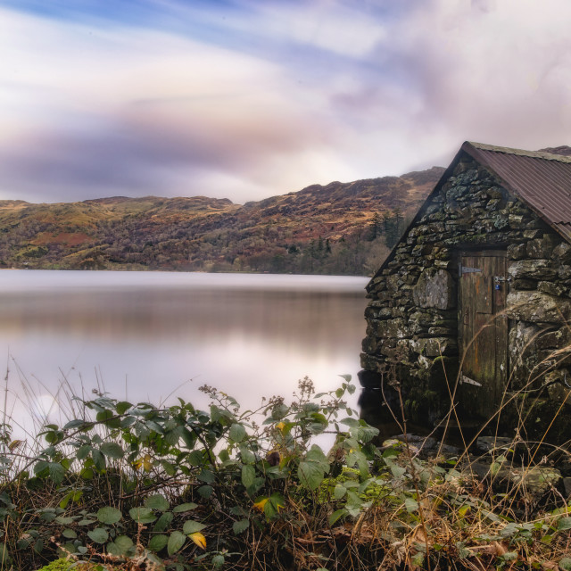 """Gwynant Boathouse"" stock image"