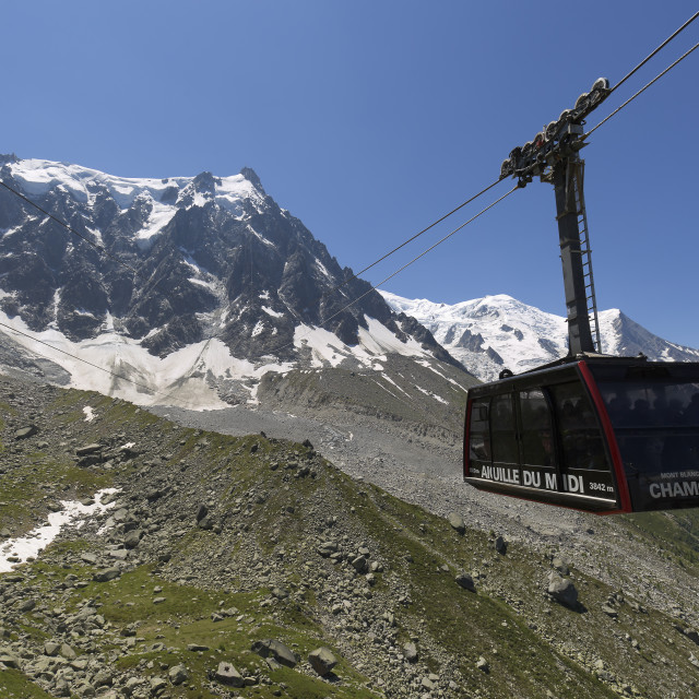 """""""Cable Car of Aiguille du Midi in Chamonix, France."""" stock image"""