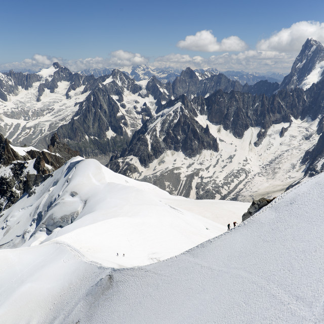 """Views from LA'Aiguille Du Midi in Chamonix, France."" stock image"