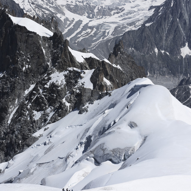 """""""Mountaineers ascending to Mont Blanc in Chamonix, France."""" stock image"""