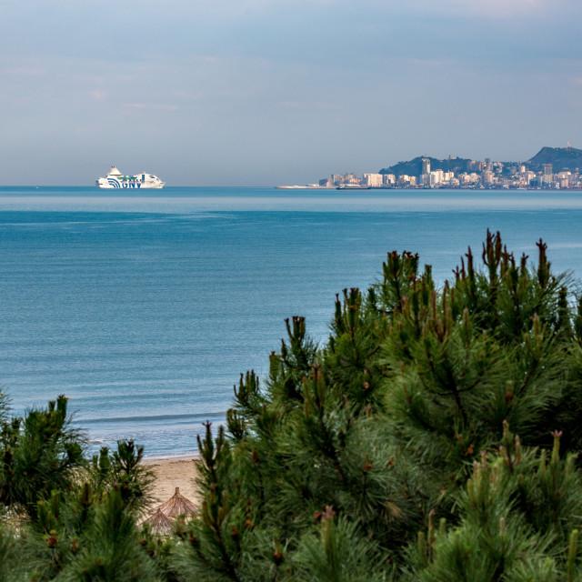 """Ferryboat sailing toward Adriatic sea city"" stock image"