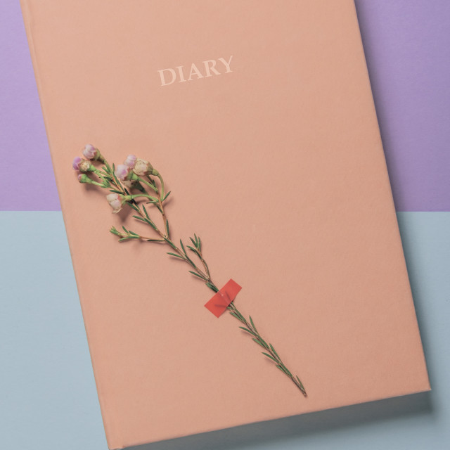 """Pink diary notebook and a single white flower."" stock image"