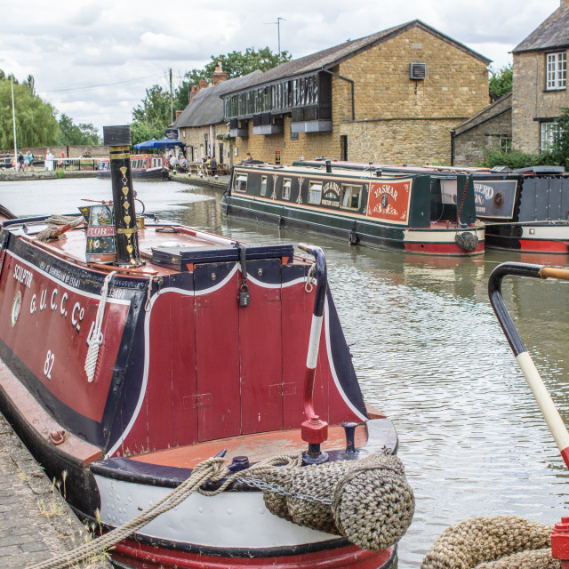 """Grand Union Canal at Stoke Bruerne"" stock image"