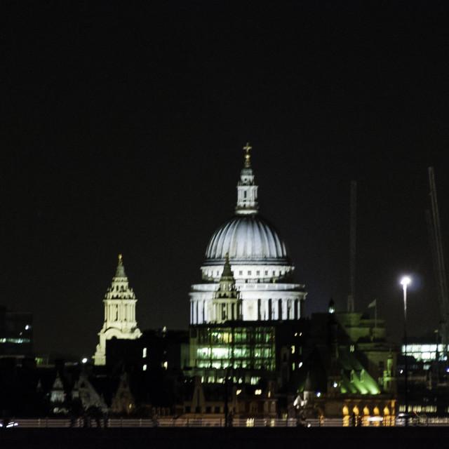 """St.Pauls London at night"" stock image"