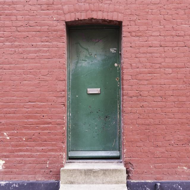 """""""Green Door in pink Brick wall"""" stock image"""