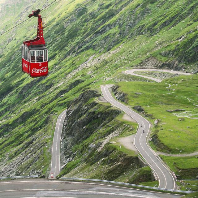 """Cable car on the Transfăgărășan road, Romania"" stock image"