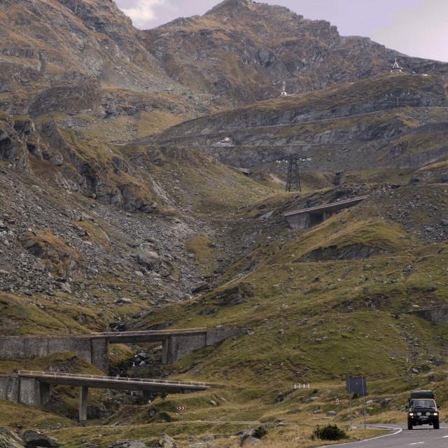 """Landcruiser on the Transfagarassan"" stock image"