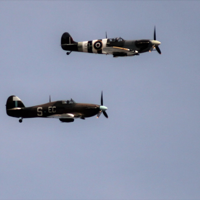 """""""Spitfire and Hurricane"""" stock image"""