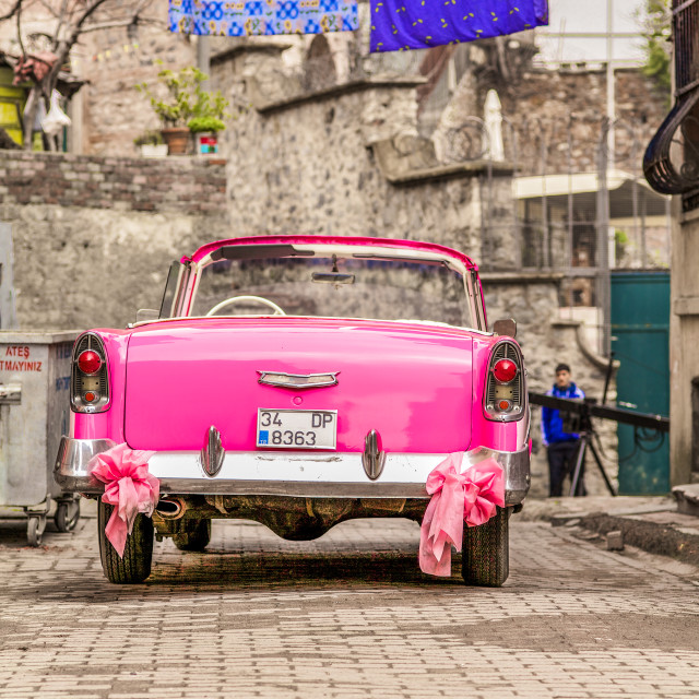 """""""Pink Chevy Istanbul"""" stock image"""