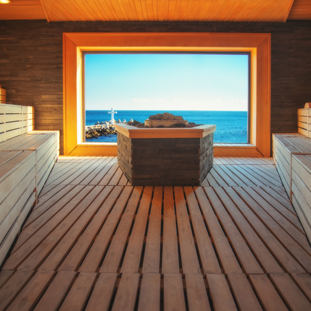 """Classic wooden sauna and view toward sea, steam sauna in luxury"" stock image"