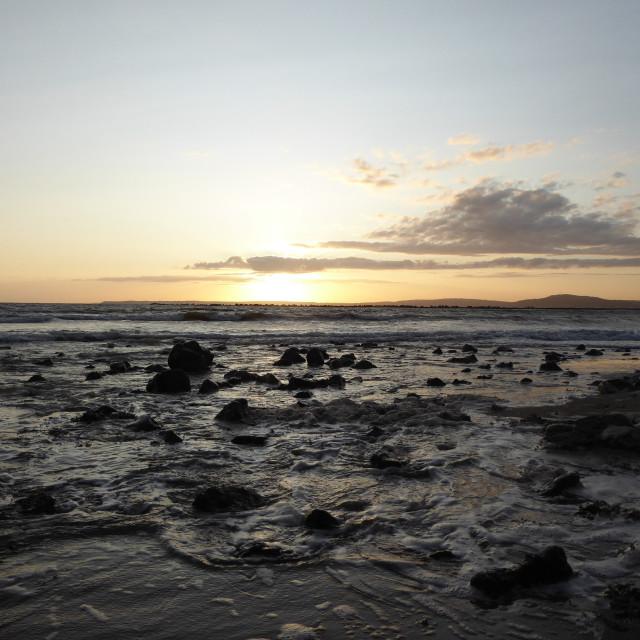 """Sunset on Aberavon Beach"" stock image"