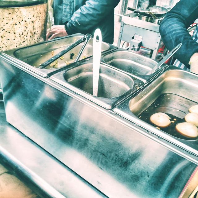 """""""Preparing tea eggs"""" stock image"""