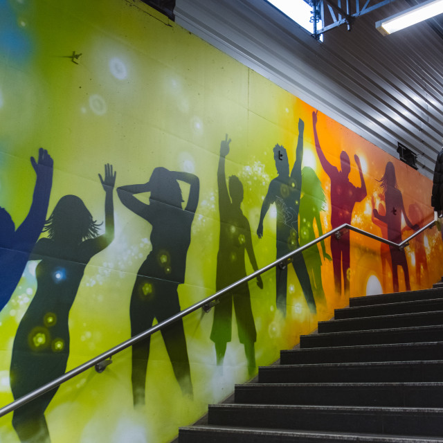 """Street art in Berlin U-Bahn"" stock image"