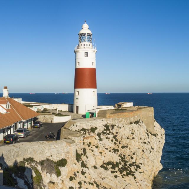 """Europa Point Lighthouse, Gibraltar rock"" stock image"