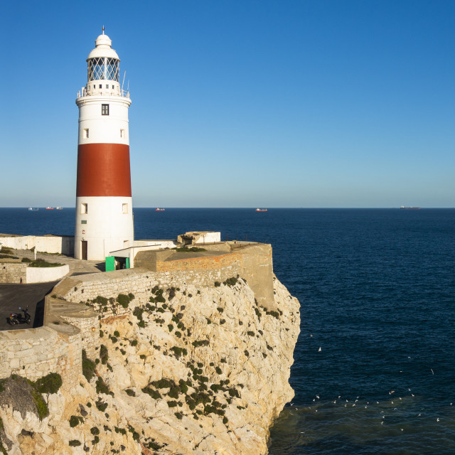 """Europa Point Lighthouse, Gibraltar rock"" stock image"