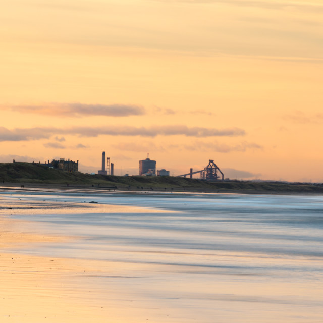 """Sunset Saltburn Beach"" stock image"