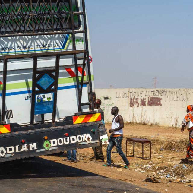"""Catching the bus to Dakar"" stock image"