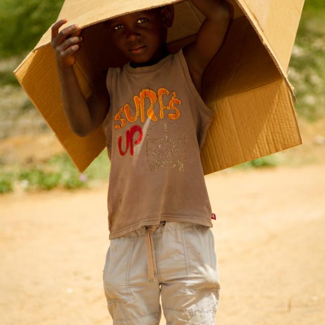 """Cardboard box boy"" stock image"