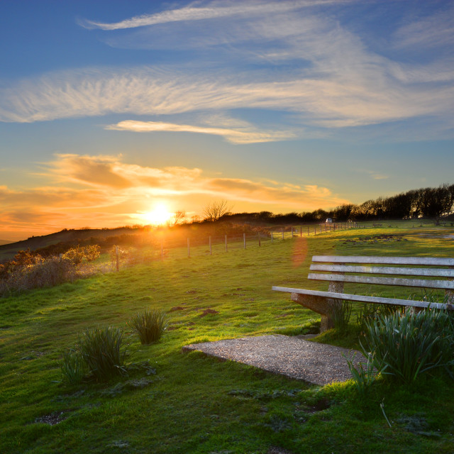 """Setting Sun Behind Picturesque Viewpoint"" stock image"