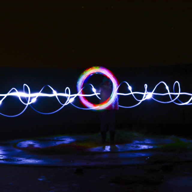 """Making LED Light Trails at Night"" stock image"