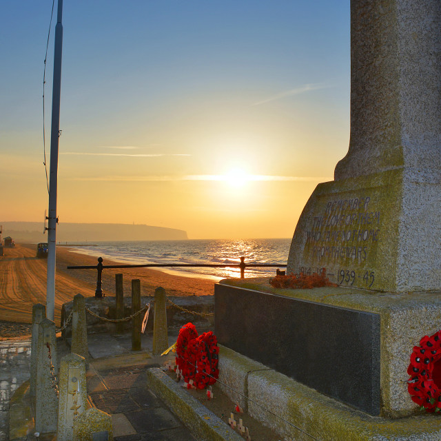 """War Memorial and Beach at Sunrise"" stock image"