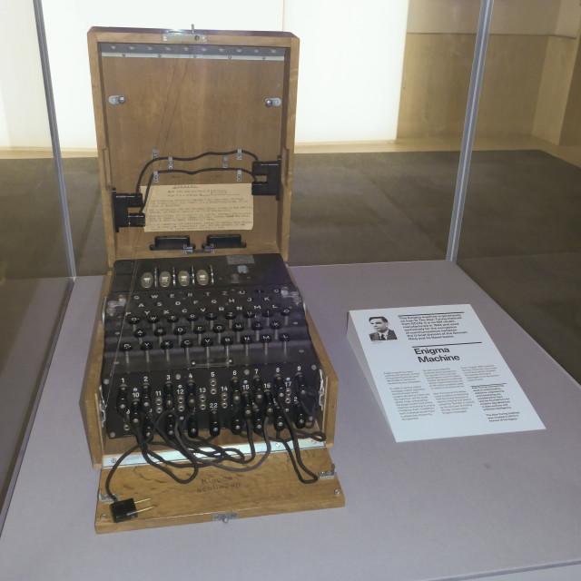 """Enigma machine in the Alan Turing Institue"" stock image"