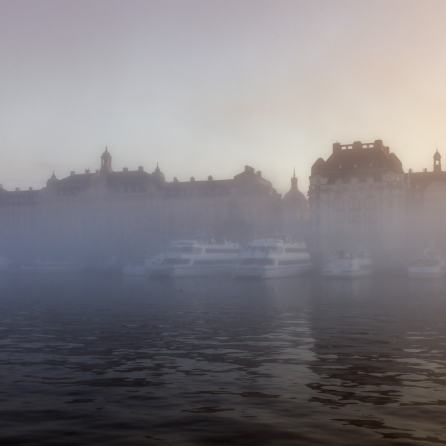 """Stockholm in fog"" stock image"