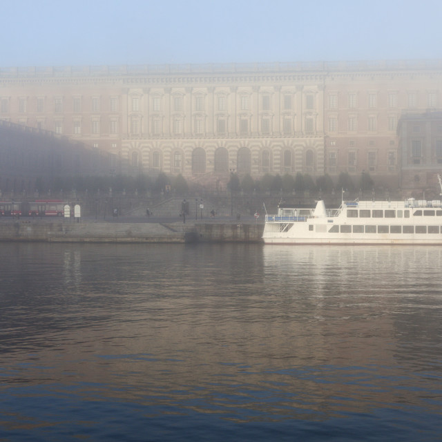 """""""Stockholm Palace in fog"""" stock image"""