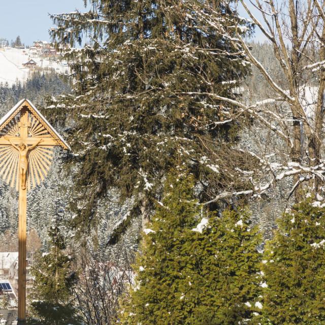 """Wooden cross in Zakopane"" stock image"