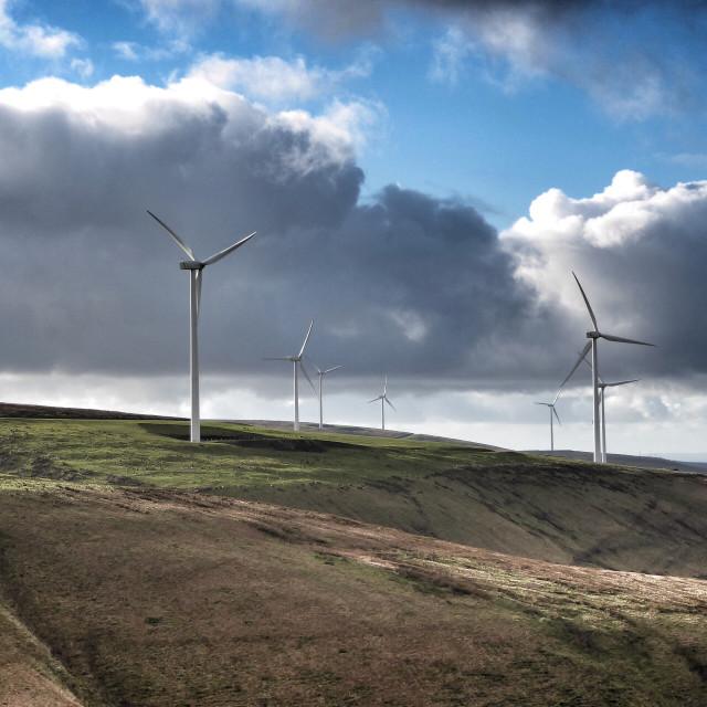 """Wind Turbines in Afan Valley"" stock image"